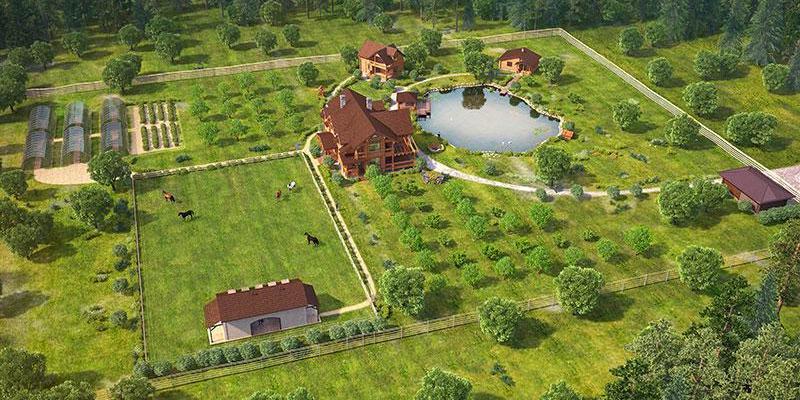Примерная планировка усадьбы на участке 3 гектара