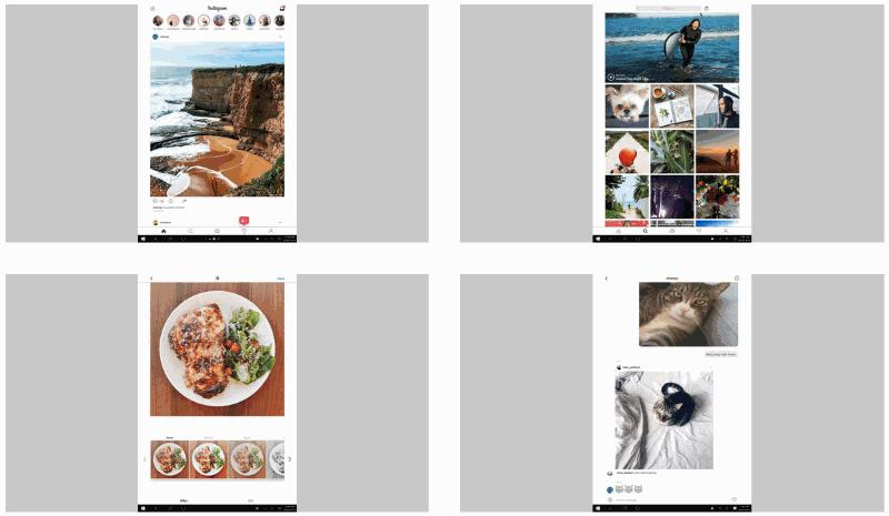 Вид приложения Instagram на компьютере с ОС Windows 10